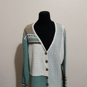 Vtg Orvis Pastel Color-blocked Deep V-neck…
